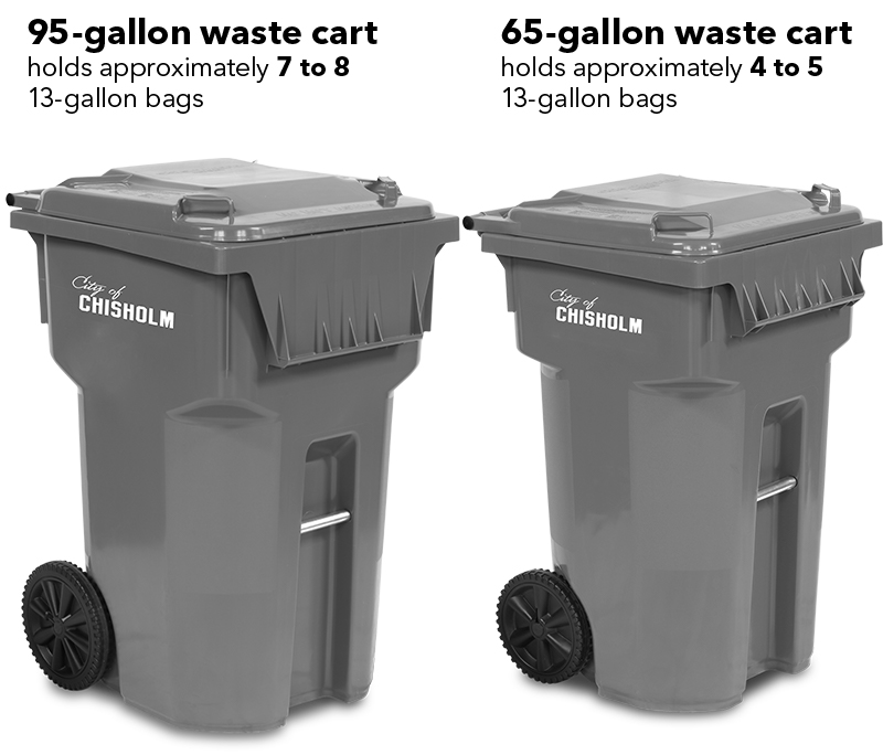 95 & 65-gallon waste carts for Chisholm, MN